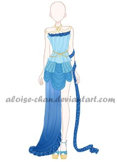 [OPEN] Waterfall Gown Outfit Adoptable by Aloise-chan.deviantart.com on @DeviantArt