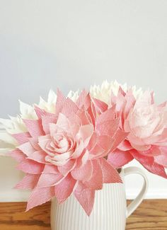 Crepe Paper Flowers, Paper Dahlias, Pink Paper Flowers, First Anniversary Gift, Paper Flowers With S Paper Flower Art, Paper Dahlia, Paper Flowers Wedding, Crepe Paper Flowers, Pink Paper, Paper Roses, Bouquet Wedding, Wedding Paper, First Anniversary Gifts