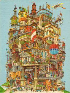 1977 Springbok Verticalville Jigsaw Puzzle - Bob Martin - 500 Pieces - VGC