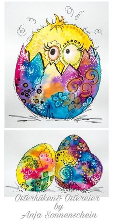 Ostern Ostern You are in the right place about Birds Drawing raven Here we offer yo Easter Drawings, Bird Drawings, Watercolor Animals, Watercolor Art, Art Fantaisiste, Art Carte, Cartoon Birds, Easter Art, Happy Paintings