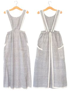 Sewing inspiration from history, period & costume dramas to make an apron pinafore dress. Edwardian era, Regency era, linen, Japanese no-tie aprons & more.