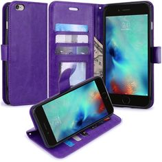 iPhone 6S Case, iPhone 6 Case, LK Luxury PU Leather Wallet Case Flip Cover with Card Slots & Stand For Apple iPhone 6S (2015) / iPhone 6 (2014) 4.7 inch, PURPLE. Perfect Design for iPhone 6S (2015) / iPhone 6 (2014). SECURE WALLET CASE: This wonderful cover case is also multi-functionally designed to act as a case and secure portable wallet. Multiple slots allow you to carry 3 credit cards as well as cash. PROTECTION: Four corner protection by high quality soft TPU inner skin shell. Shock...