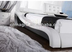 HG933# Stylish Design Adjustable Bed Headboard For Queen Size White Leather Bed