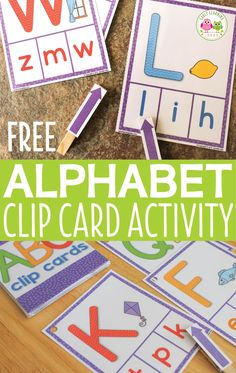Use this free printable abc activity to help kids learn letter recognition and letter sounds.  The alphabet clip cards are a great multi-sensory activity.  Perfect for your literacy centers, ELA centers, and work stations.  For kids in preschool, pre-k, and kindergarten.  Use for a take-home activity or letter of the week activity.