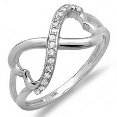 71% Off was $661.00, now is $189.00! 0.15 Carat (ctw) 10k White Gold Round Diamond Ladies Promise Two Double Heart Infinity Love Engagement Ring + Free Shipping