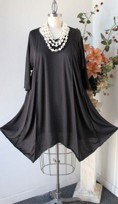 Adorable Lagenlook Plus size Tunic in Black by Dare2bStylish