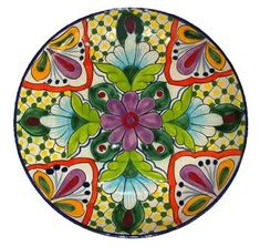 Round Venegas Mexican Talavera  Pottery Plate.. Inspiration for our guests at Bistro Claytopia