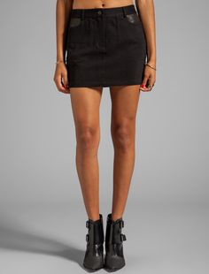 #Revolve Clothing         #Skirt                    #Alexander #Wang #Cotton #Canvas #Leather #Detail #Jean #Skirt #Black         T by Alexander Wang Cotton Canvas Leather Detail Jean Skirt in Black                                    http://www.seapai.com/product.aspx?PID=529166