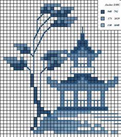 Ponto do Ponto Cruz: Gráficos de Ponto Cruz: Bonsai/Japoneses