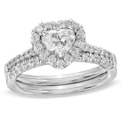 1-1/5 ct Heart-Shaped Diamond Bridal Set Solid 14k White Gold #Siover #BridalSet