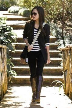 Ann Taylor black blazer, Papaya skinny jeans, and Forever21 striped tee