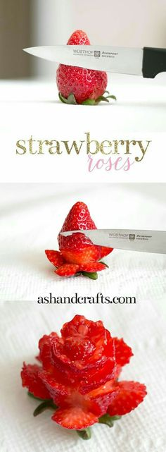 Awesome Strawberry Roses – Cake Decorating Idea - 17 Amazing Cake Decorating I. Awesome Strawberry Roses – Cake Decorating Idea - 17 Amazing Cake Decorating Ideas, Tips and Tricks That'll Make You A Cute Food, Yummy Food, Healthy Food, Healthy Lunches, Cut Strawberries, Wedding Strawberries, Cheesecake Strawberries, Chocolate Covered Strawberries, Strawberry Roses
