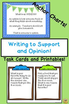 Writing to Support an Opinion - W W Activities, task cards, and more - Atpl Theorie - Air Force Literacy, Kindergarten Writing, Teaching Writing, Teaching Ideas, Thing 1, Teaching Language Arts, Reading Resources, Task Cards, Anchor Charts