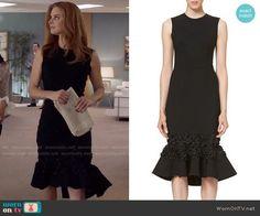 Donna's black flared hem dress on Suits. Outfit Details: https://wornontv.net/75266/ #Suits