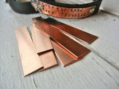 "COPPER Blank - 3/8"" x 2"" Metal Blank for Hand Stamped Jewelry- Use on Leather Cuffs or ID Bracelets- 22gauge - 12 Pack on Etsy, £3.75"
