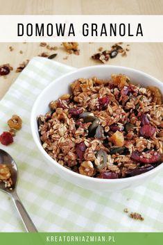 Domowa granola z żurawiną i cynamonem - chrupiąca i aromatycznaKreatornia Zmian Granola, Pcos, Cereal, Breakfast, Mad, Diet, Slim, Morning Coffee, Muesli