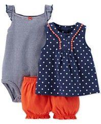 Carter's Baby Girls' 3-Piece Tank, Bodysuit & Diaper Cover Set