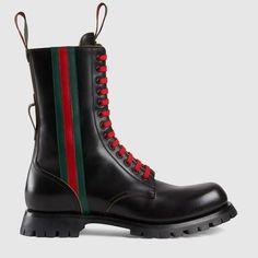 21cb248b22fc Black leather boot with Web Gucci Fashion