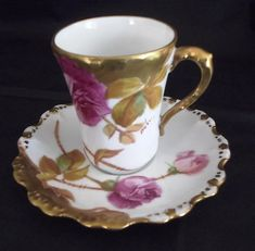 BEAUTIFUL VINTAGE Hand Painted 'Artist Signed' Roses w/Gold Trim FLAMBEAU LIMOGES DEMITASSE Chocolate Coco Coffee Tea CUP & SAUCER Approx measurements: Cup stands 3 and measures 2 1/2 across the bri
