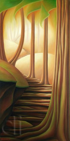 Dana Irving - Chill of Morning 24 x 48 2011 oil on canvas Foreground Middleground Background, Trees Drawing Tutorial, Grant Wood, Cityscape Art, Art And Craft Design, Modern Art Paintings, Sketch Painting, Naive Art, Surreal Art