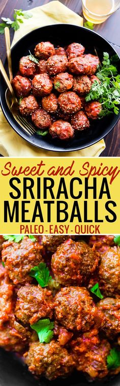Sweet and Spicy Sriracha Paleo Meatballs are easy to make in under 45 minutes. Simple ingredients, super tasty, and protein packed! Great as an appetizer, meal, or meal prep addition. Freezer friendly. @cottercrunch www.cottercrunch.com