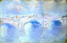 Acheter Tableau 'Waterloo Bridge' de Claude Monet - Achat d'une reproduction sur toile peinte à la main , Reproduction peinture, copie de tableau, reproduction d'oeuvres d'art sur toile