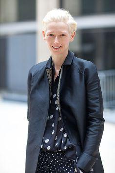 Tilda Swinton is chic in polka dots.   - HarpersBAZAAR.com