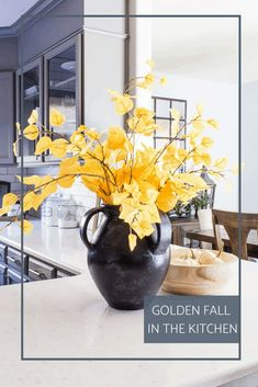 Come see how little touches of gold help create a beautiful feel of fall in the kitchen! #fallkitchen #fallhometour #fallhomedecor #falldecor White Pumpkins, Fall Pumpkins, Fall Home Decor, Autumn Home, Home Decor Inspiration, Kitchen Inspiration, Decor Ideas, Black Vase, Kitchen Paint