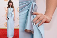 Zooey Deschanel is the queen of nail art. See all the best manicures from the 2013 Emmy Awards. Red Carpet Manicure, Celebrity Nails, The Emmys, Zooey Deschanel, Celebs, Celebrities, Nail Inspo, Nails Inspiration, Latest Trends