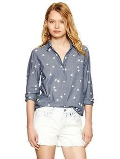 Star print chambray boyfriend shirt 54