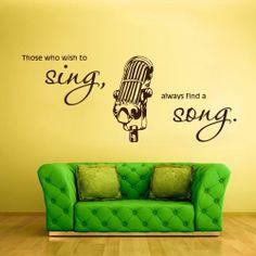 Wall Vinyl Sticker Decals Decor Art Bedroom Mic Microphone Sing Song Music (z755