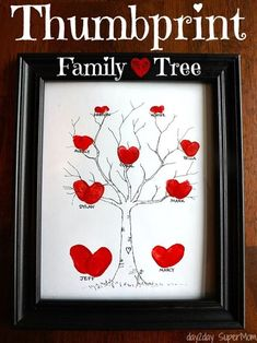 Thumbprint Crafts for Kids: Thumbprint Family Tree | Thoughtful DIY Mother's Day Gift Ideas by DIY Reay at http://diyready.com/diy-gifts-mothers-day-ideas/