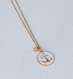 Gold & White Anchor Necklace Nautical Jewelry Gold Anchor Long Necklace Summer Bon Voyage Cruise Sailing Travel You Are My ANCHOR 14K Gold