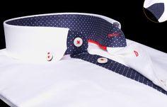 Chemise homme blanche doublure navy à pois button down collar, Chemises cintrées - Chemise Homme