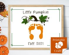 Little Pumpkin Fall Printable Craft, Baby Footprint DIY Personalized Keepsake, Daycare Printable, Baby's First Fall by HolaSunshineDesigns on Etsy Daycare Crafts, Toddler Crafts, Preschool Crafts, Baby Fall Crafts, Pumpkin Printable, Printable Crafts, Baby In Pumpkin, Little Pumpkin, Fall Arts And Crafts