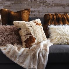 Our Faux Cowhide Throw Pillow is a modern take on the classic Western cowhide pillow makes for a fun, creative accent for your space. Soft and cozy, bold and contemporary; it& a pillow you& enjoy until the cows come home.