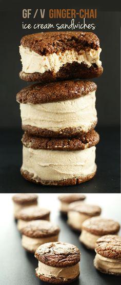 Vegan GF Chai-Ginger Ice Cream Sandwiches! Creamy chai ice cream with tender ginger cookies. SO creamy and addictive. #vegan #glutenfree