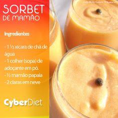 Aprenda a fazer sorbet de mamão, veja que fácil, só são 4 ingredientes! Modo de preparo aqui: http://maisequilibrio.com.br/receitas-light/sorbet-de-mamao-8-2-7-781-e-25.html