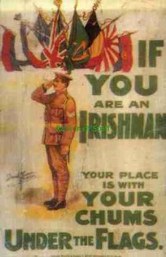 Very interesting British Recruiting Poster for Irish men in WWI. Ww1 Posters, Political Advertising, Irish Pride, Funny Ads, World War One, Military Men, Irish Men, Wwi, Vintage Advertisements