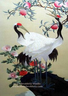 Red Crowned Cranes, symbol of logevity, silk hand embroidery picture, Chinese Suzhou embroidery, Su Embroidery Studio