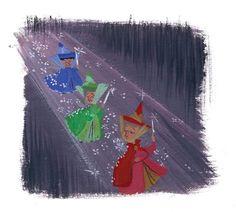 Fauna, Flora and Merryweather! The Legacy Collection: Sleeping Beauty showcases beautiful original artwork by Lorelay Bove! Disney Sidekicks, Disney Films, Disney Characters, Disney Dream, Disney Love, Disney Stuff, Disney Musik, Glenn Arthur, Walt Disney Records