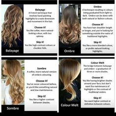"98 Likes, 2 Comments - Brooke Smith (@_hair_by_brooke_) on Instagram: ""A good reference for understanding these 4 different terms! #Balayage #ombre #sombre #colormelt…"""