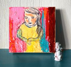 Tiny canvas Small Art Painting 3x3 small by AnaGonzalezArt on Etsy, $21.00
