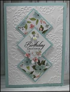 card making ideas inspiration Carolyn King, Independent Stampin Up! Birthday Cards For Women, Handmade Birthday Cards, Female Birthday Cards, Birthday Cards To Make, Making Greeting Cards, Greeting Cards Handmade, Simple Handmade Cards, Bday Cards, Embossed Cards