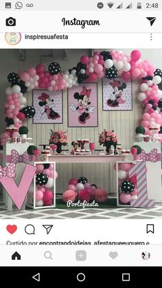Minnie Mouse Balloons, Minnie Y Mickey Mouse, Fiesta Mickey Mouse, Minnie Mouse Birthday Theme, Birthday Backdrop, Mouse Parties, Birthday Parties, Fuzz, Dessert Table
