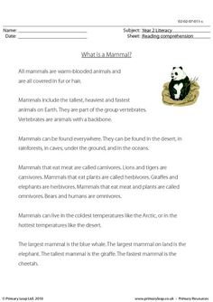 This worksheet includes interesting facts about mammals. Students read the text and then answer the study questions. Primary resources from www.primaryleap.co.uk