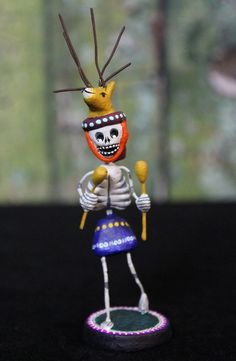 Small Size Yaqui Deer Dancer Sonoran Day of the Dead Skeleton Mexican Folk Art