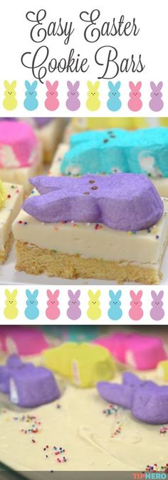 Easy Easter Cookie Bars Recipe| Kids are sure to love these cute and colorful holiday treats -- and you will too because they are sooo easy to make! It's the perfect last-minute dessert. All you'll need is a boxed cake mix, butter, eggs, sprinkles, white chocolate chips, sweetened condensed milk and peeps, of course! Click to check out the video below to see how it comes together! #kidrecipes #sweettreats #easterdesserts #peeps #cookingwithkids