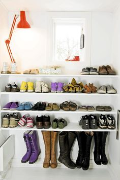 organized shoe shelves- I like the boot hangers ; get a tension rod for the front closet! Small Space Organization, Closet Organization, Organization Ideas, Storage Ideas, Organizing, Front Closet, Walk In Closet, Walk In Wardrobe Inspiration, Shoe Shelves