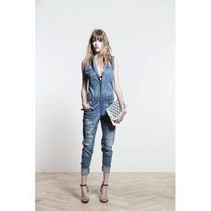 Jeansoverall, Used-Waschung, kurzarm Vorderansicht